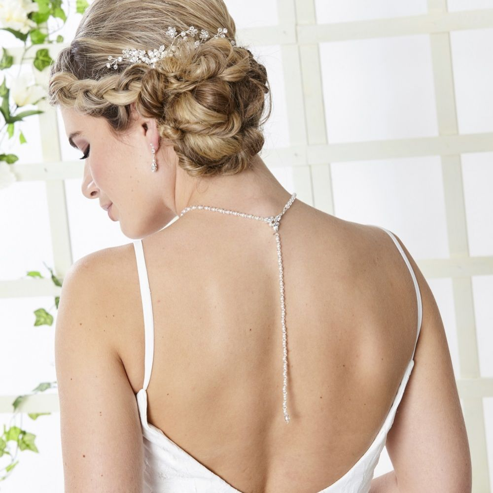Arianna Captivated Pearl and Crystal Backdrop Wedding Jewellery Set ARJ096