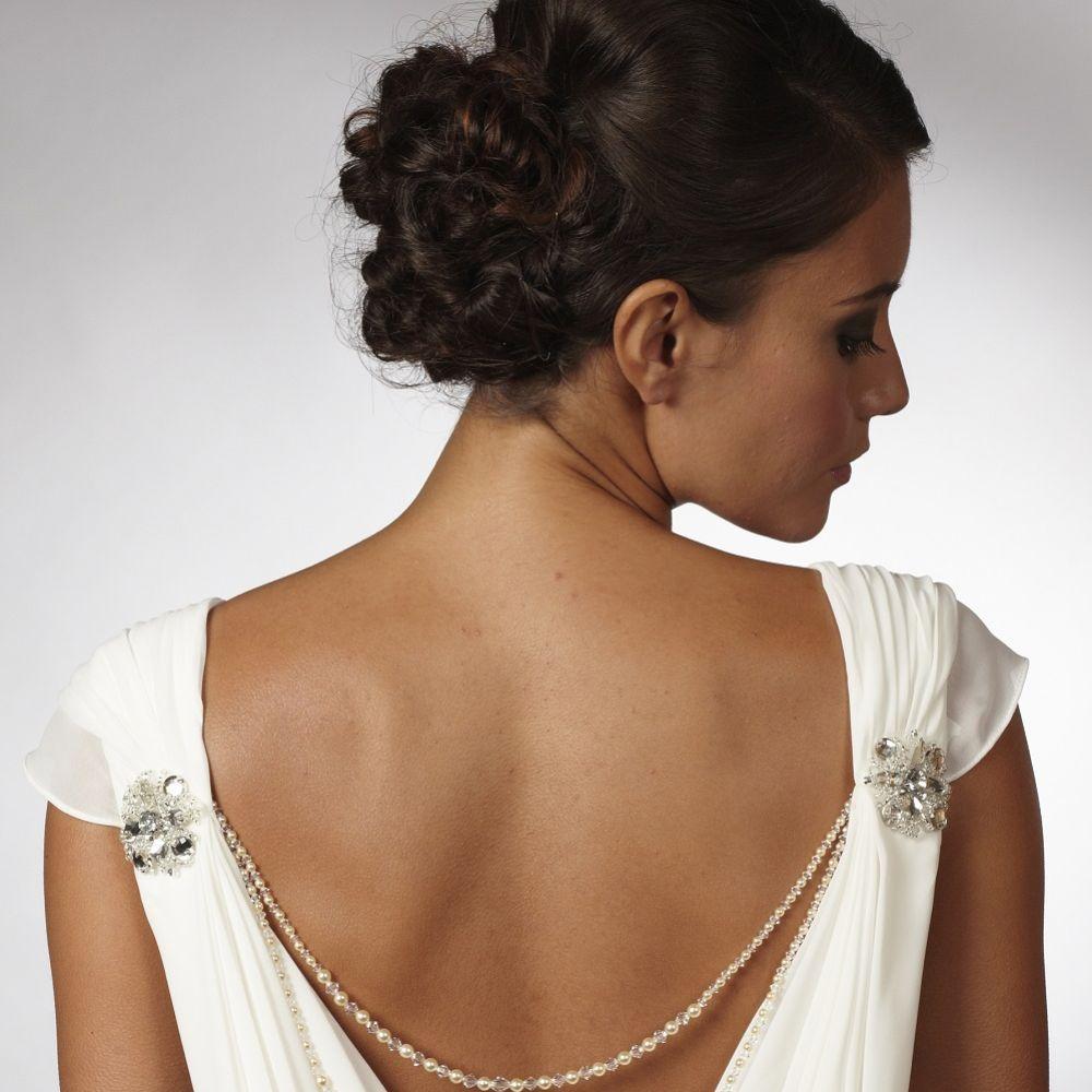 Arianna Double Strand Pearl and Crystal Back Drape Jewellery ARN068