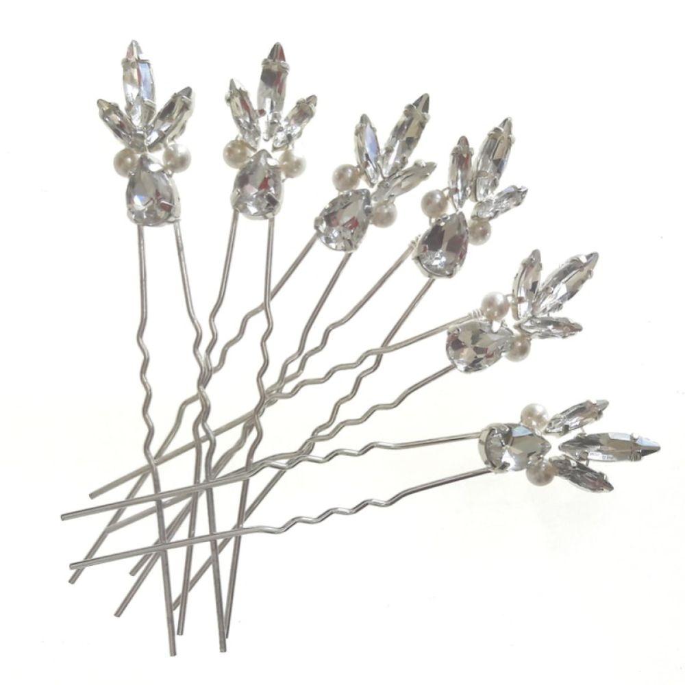 Arianna Estelle Set of 6 Diamante and Pearl Hair Pins ARP020