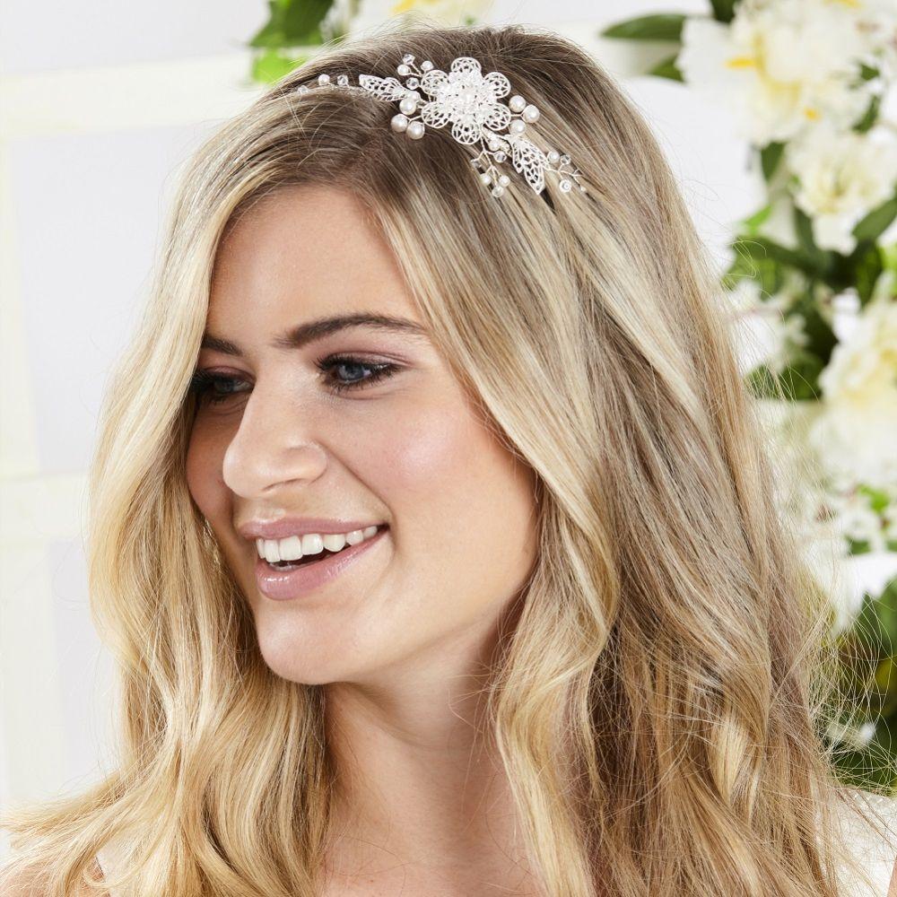 Arianna Fae Filigree Flower and Leaves Wedding Headband AR547