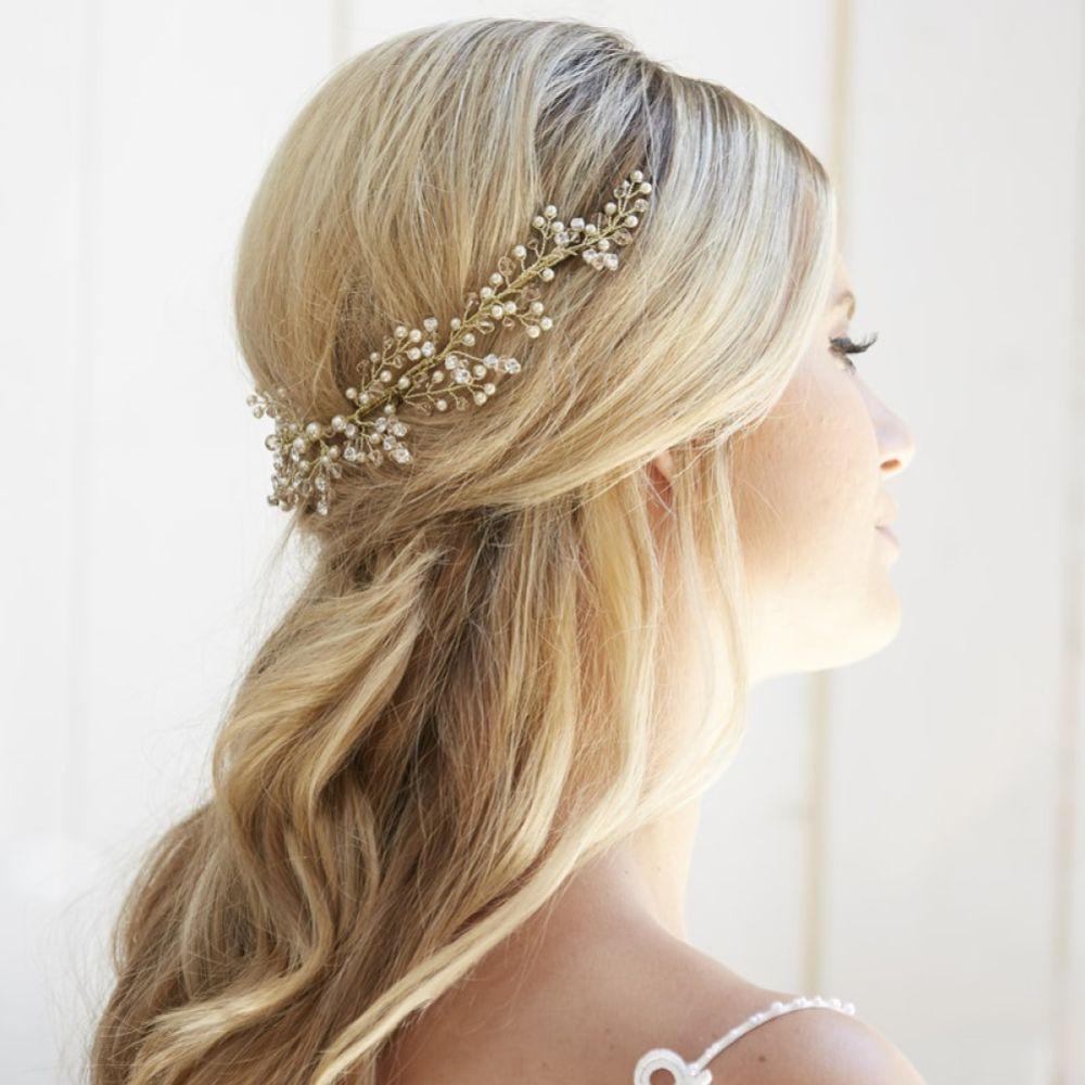 Arianna Galexia Pearl and Crystal Spray Wedding Headpiece AR570