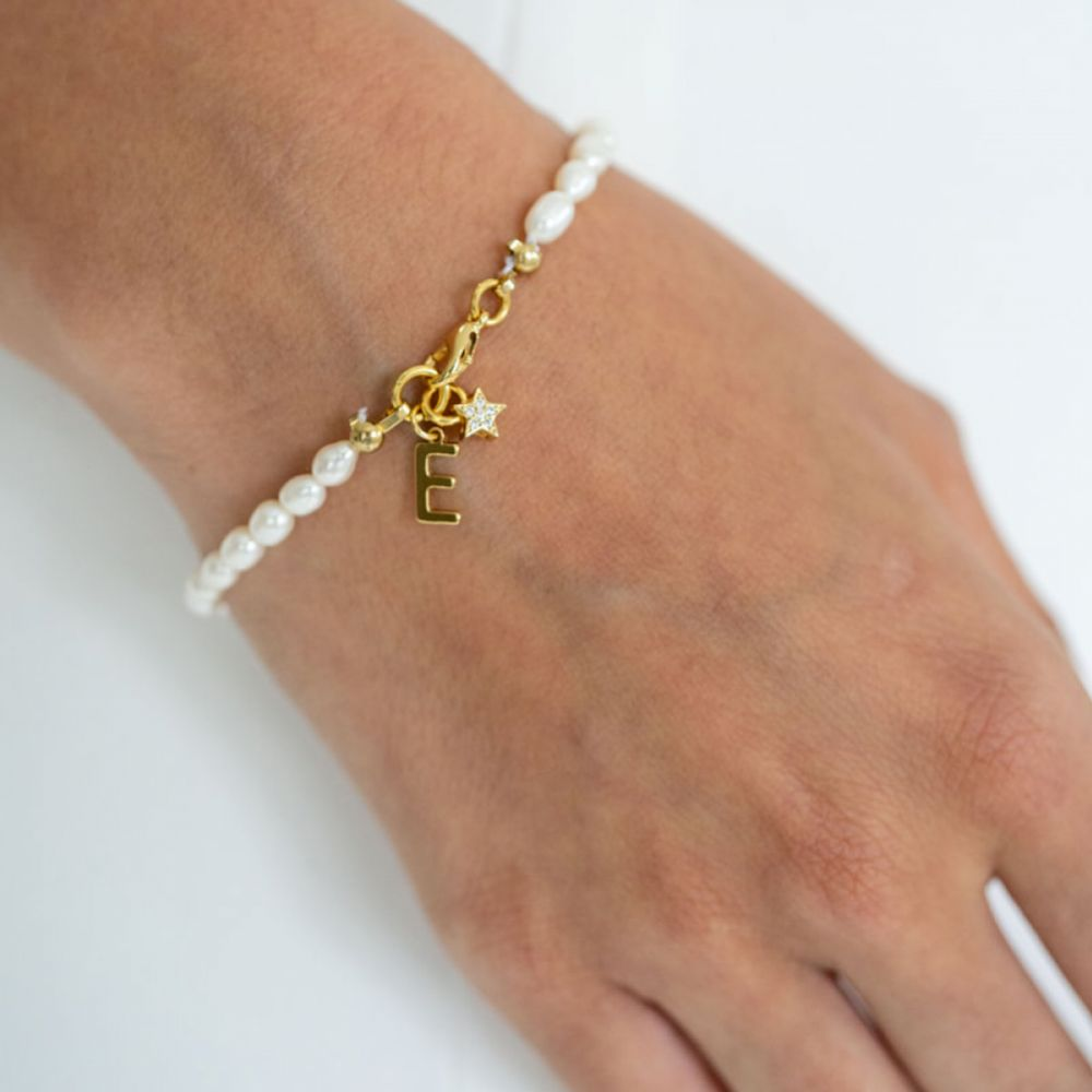 Arianna Gold Personalised Letter Pearl Charm Bracelet ARW683