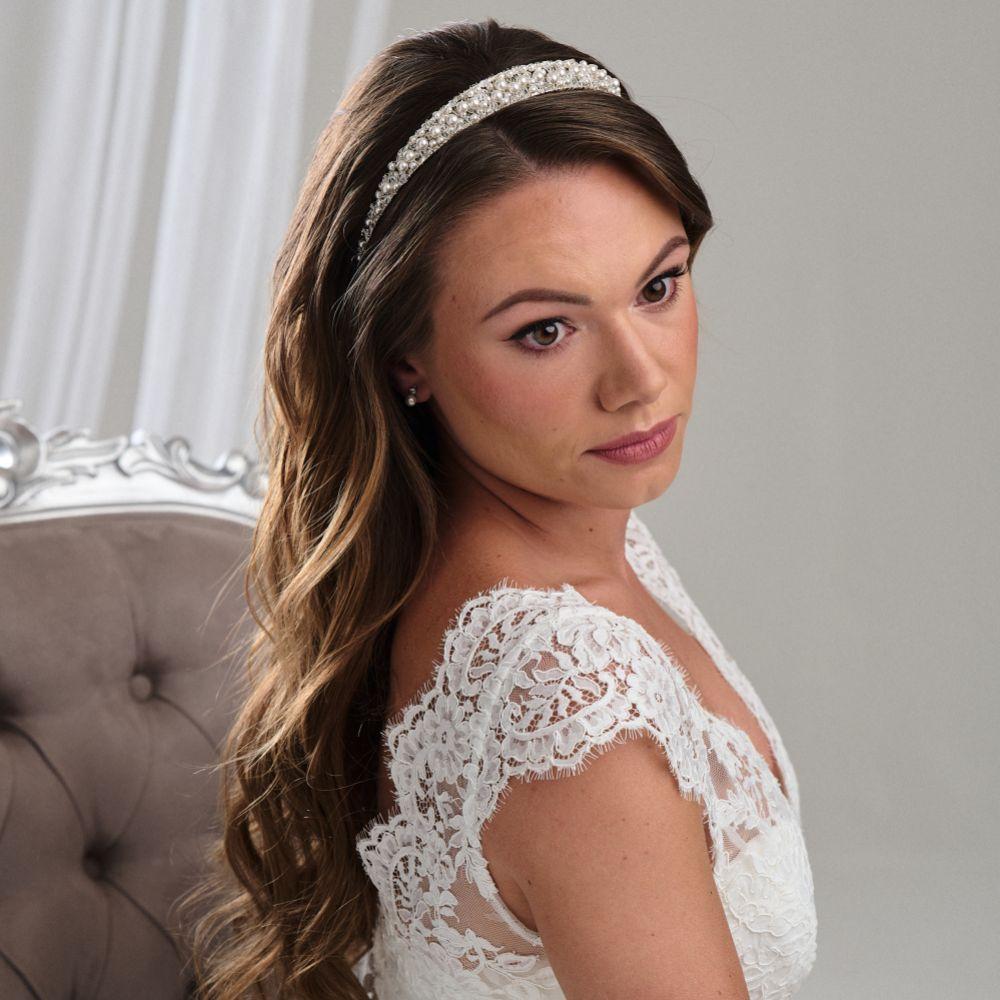 Arianna Low Pearl and Crystal Bridal Tiara AR261