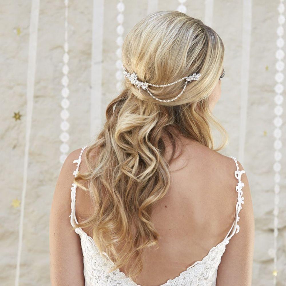 Arianna Lyra Vintage Pearl and Crystal Bridal Hair Drape AR562