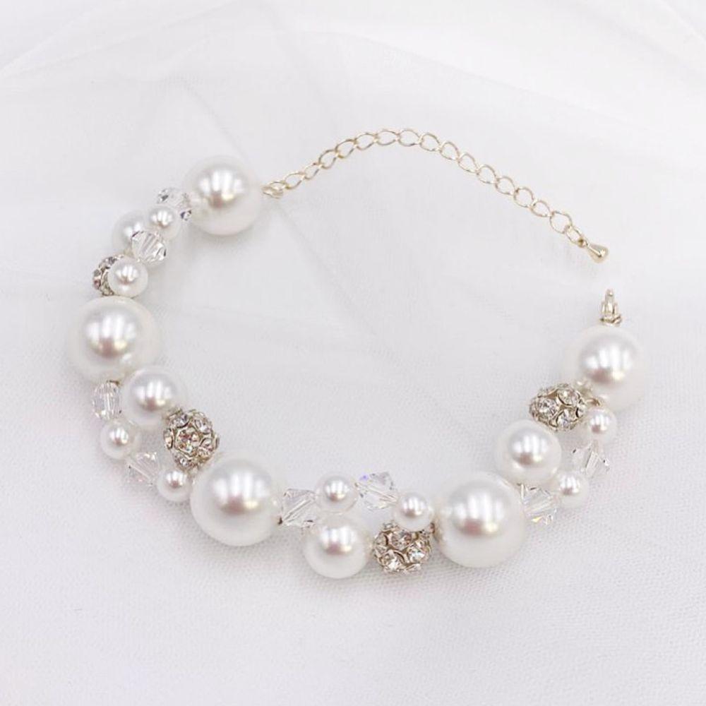 Arianna Mira Chunky Pearl and Crystal Bracelet ARW614