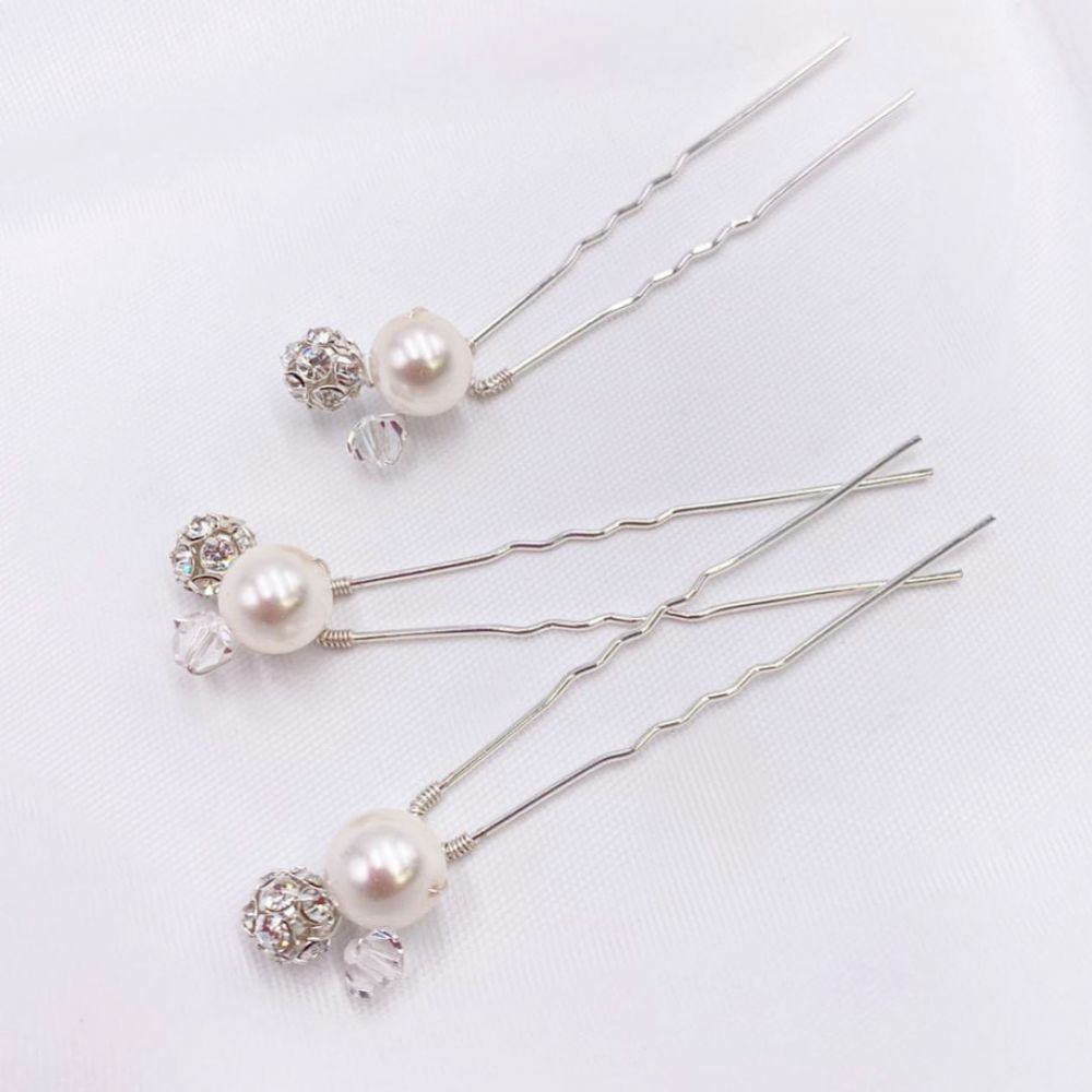 Arianna Mira Set of 3 Pearl, Crystal and Diamante Hair Pins ARP614