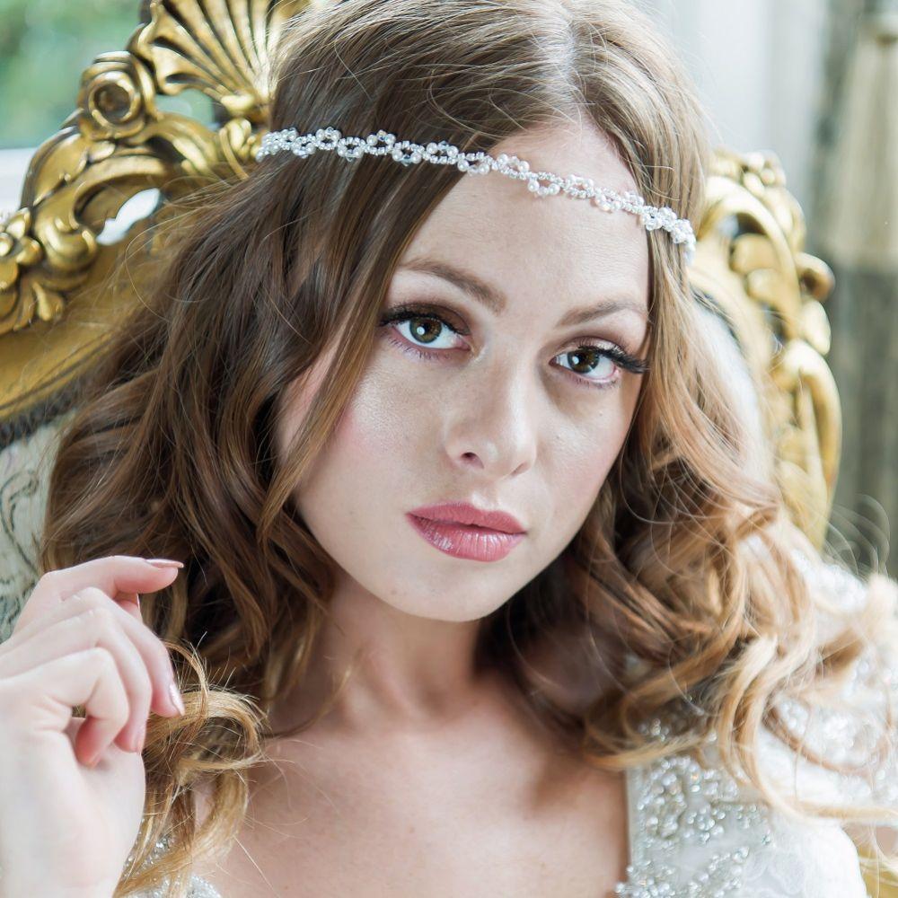 Arianna Narrow Pearl and Diamante Bridal Brow Band AR538