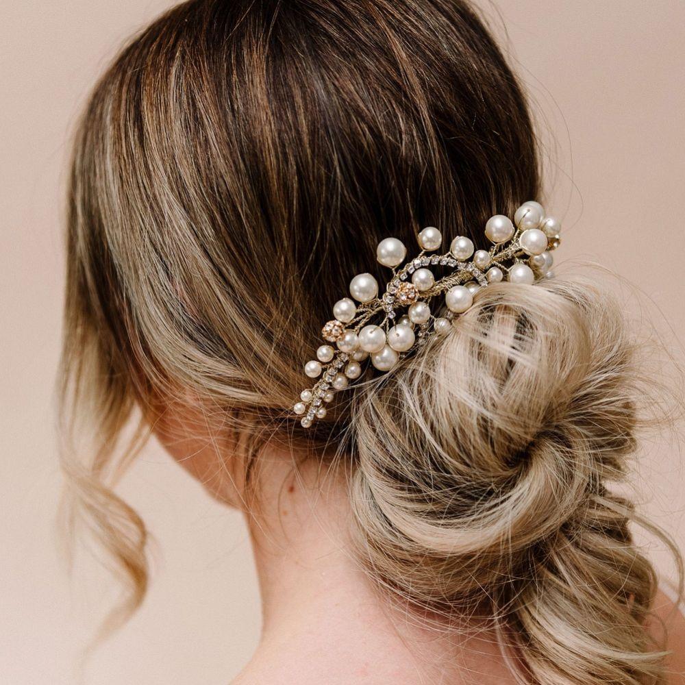 Arianna Rhythm Chunky Pearl Wedding Hair Comb AR622
