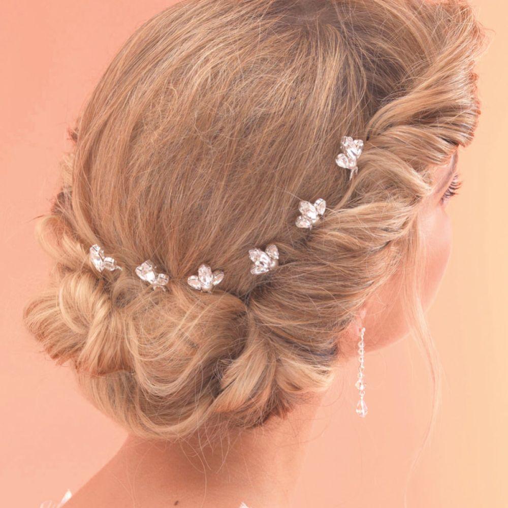 Arianna Set of 6 Vintage Crystal and Pearl Bridal Hair Pins ARP011