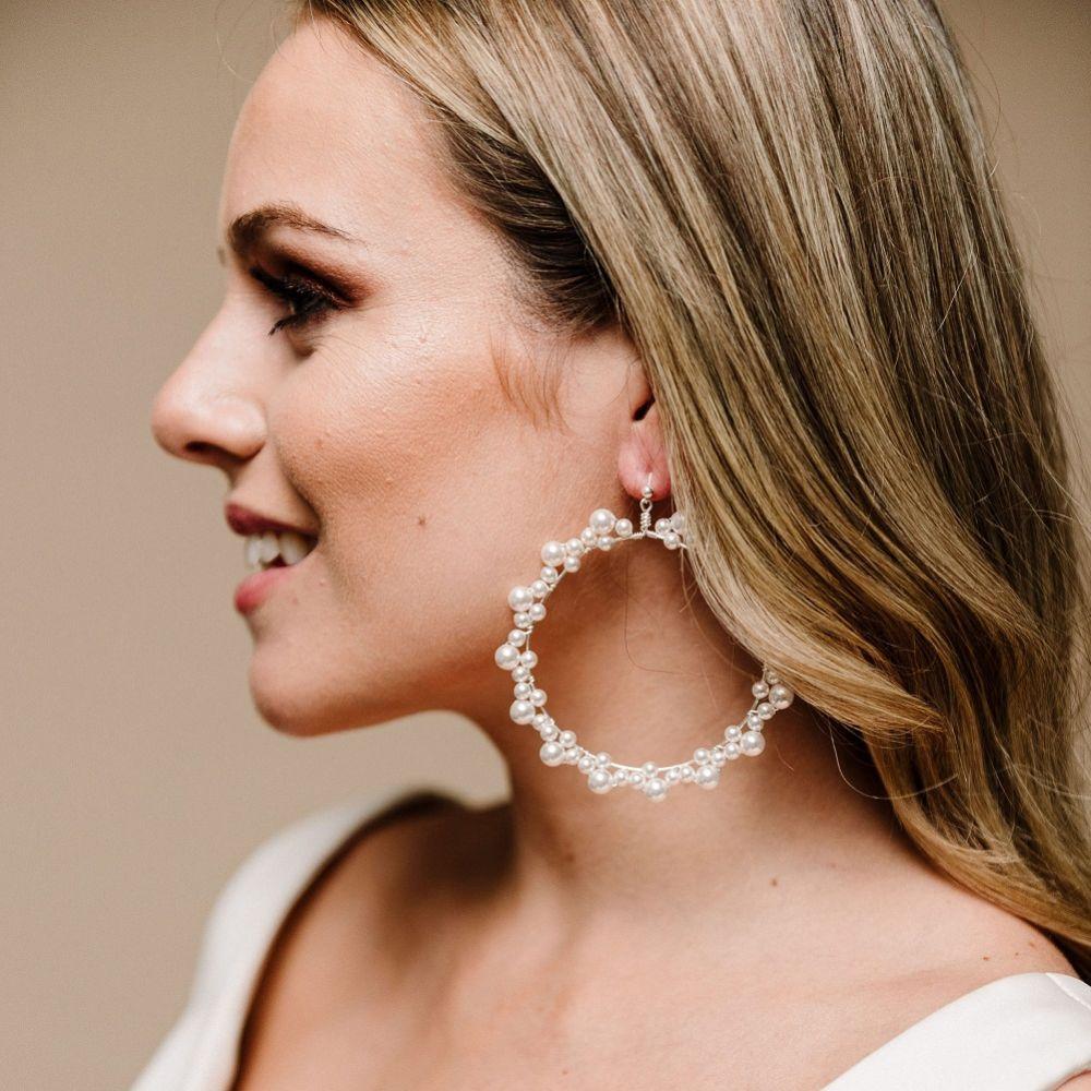 Arianna Siren Pearl Hoop Earrings ARE611