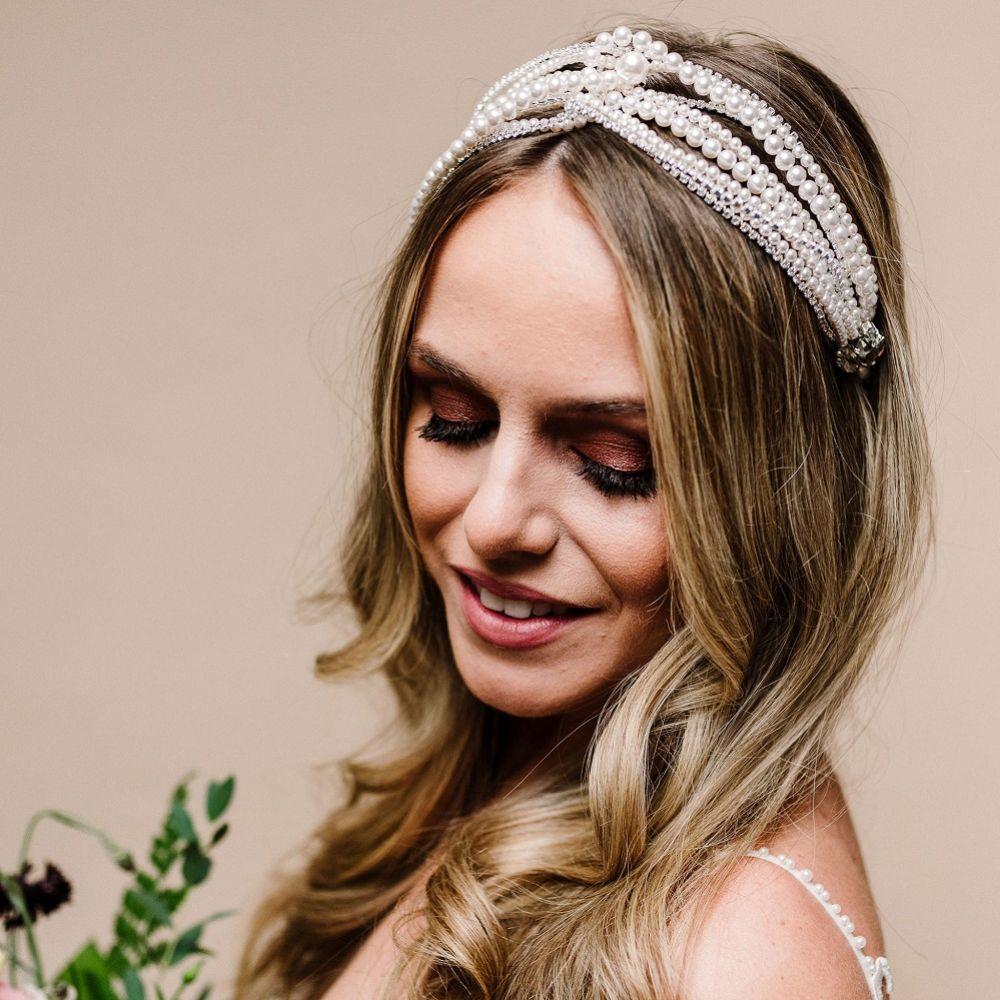 Arianna Zephyr Multi Strand Pearl and Diamante Headband AR628