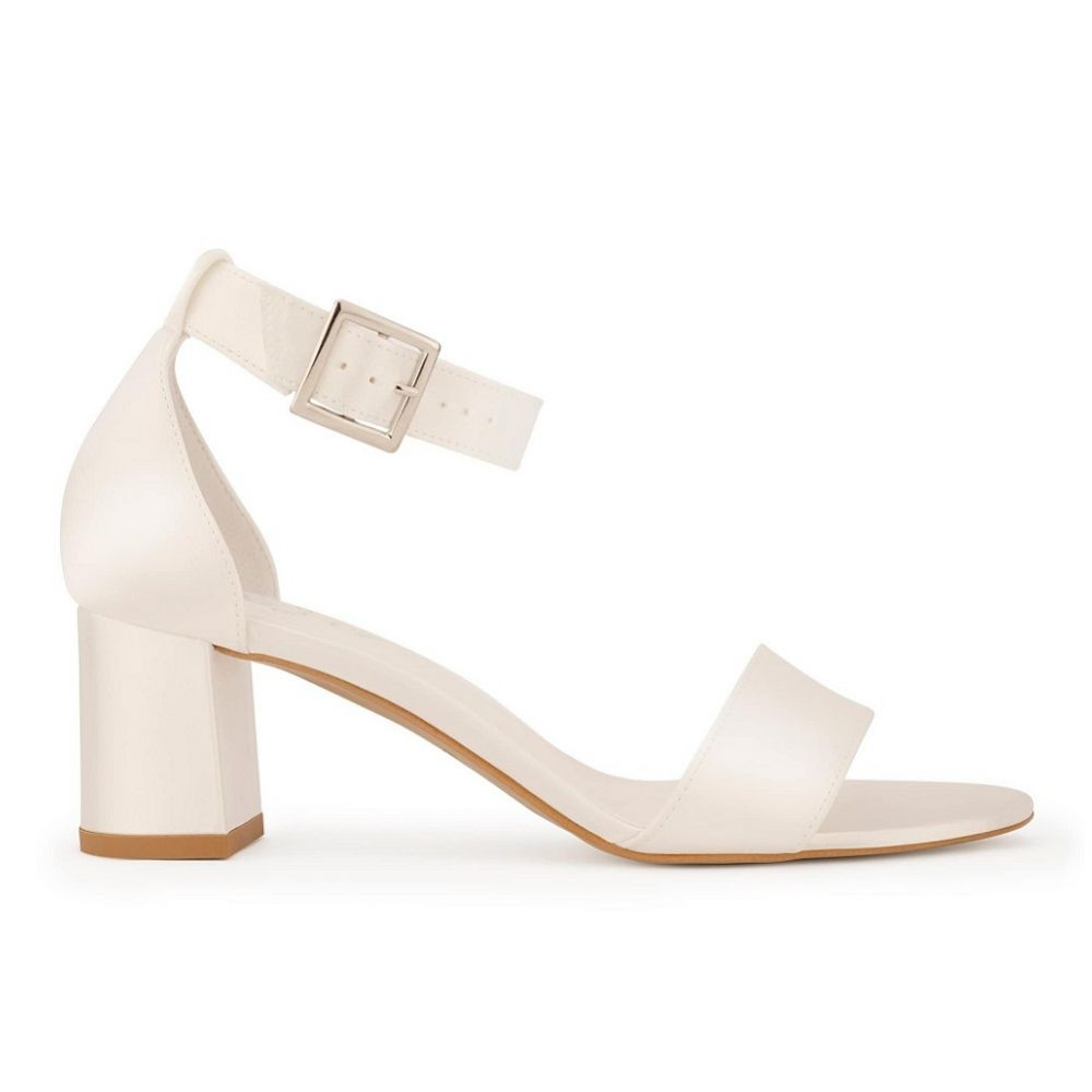 Avalia Carrie Ivory Satin Wide Ankle Strap Block Heel Sandals