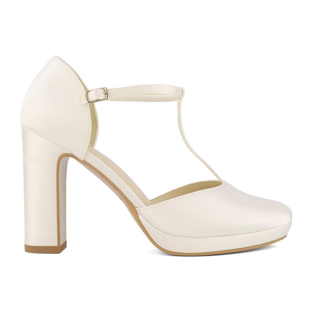 Avalia Coco Ivory Satin High Block Heel T-Bar Shoes