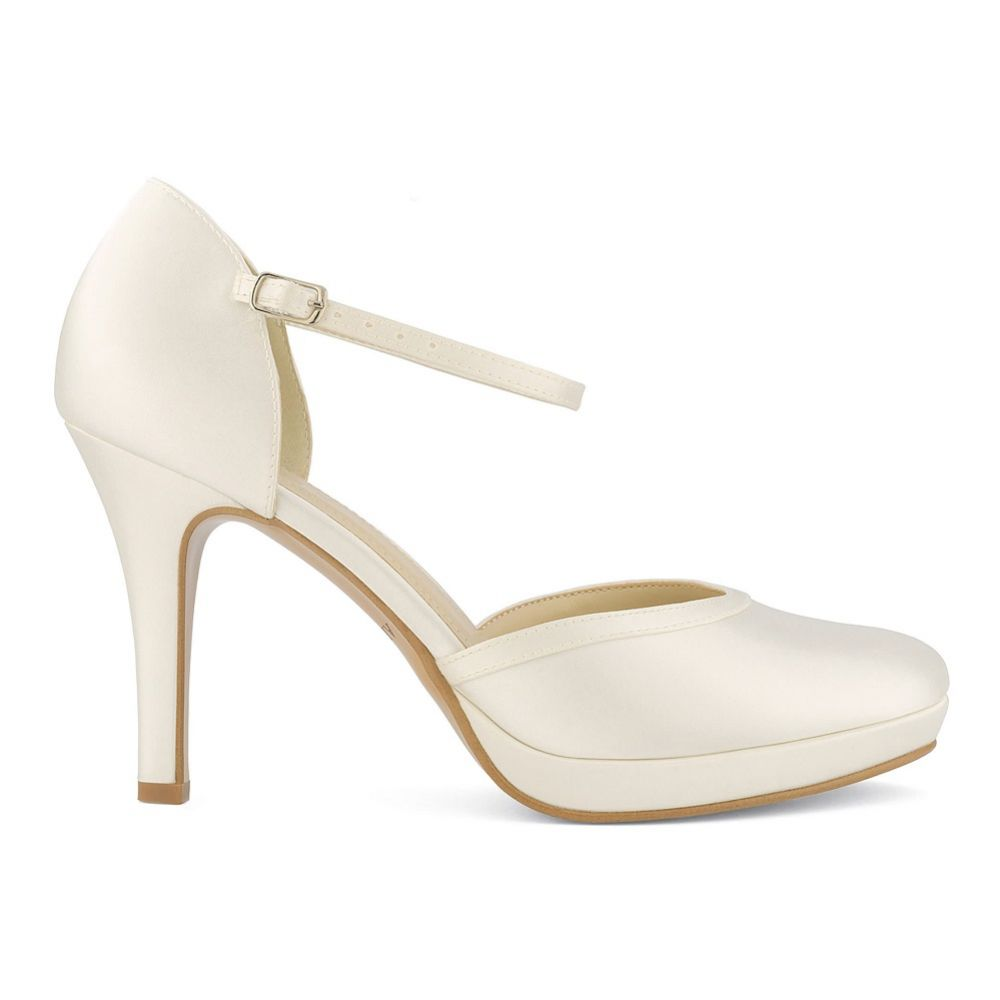 Avalia Dona Ivory Satin Ankle Strap Platform Court Shoes