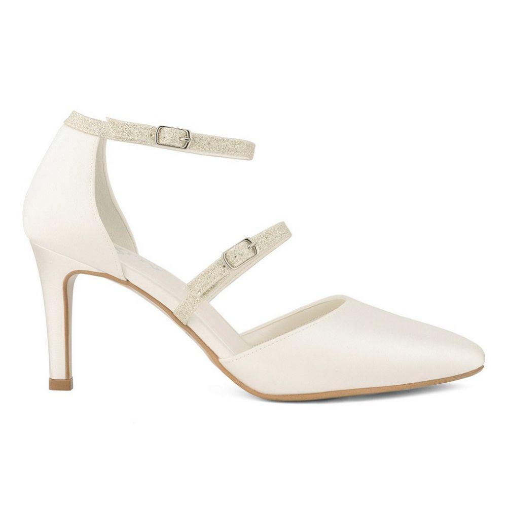 Avalia Linda Ivory Satin and Silver Glitter Double Strap Court Shoes