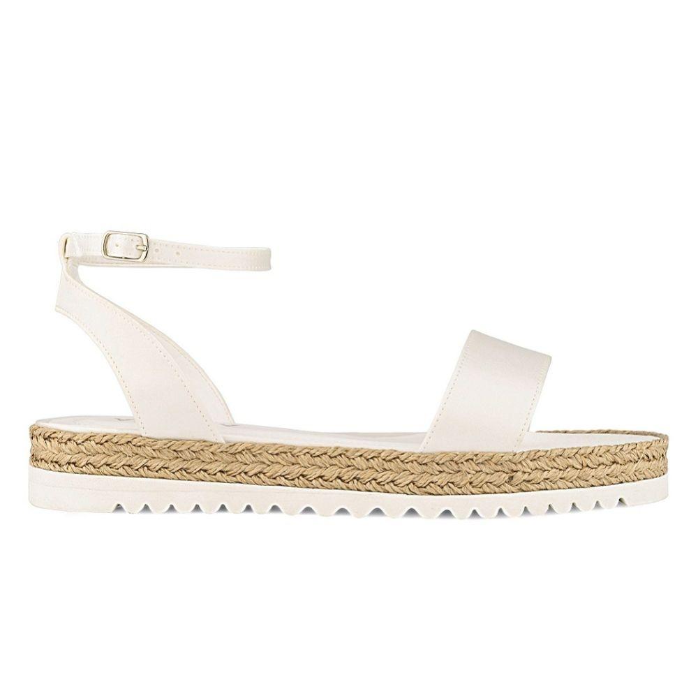 Avalia Nadia Ivory Satin Flat Boho Espadrille Bridal Sandals