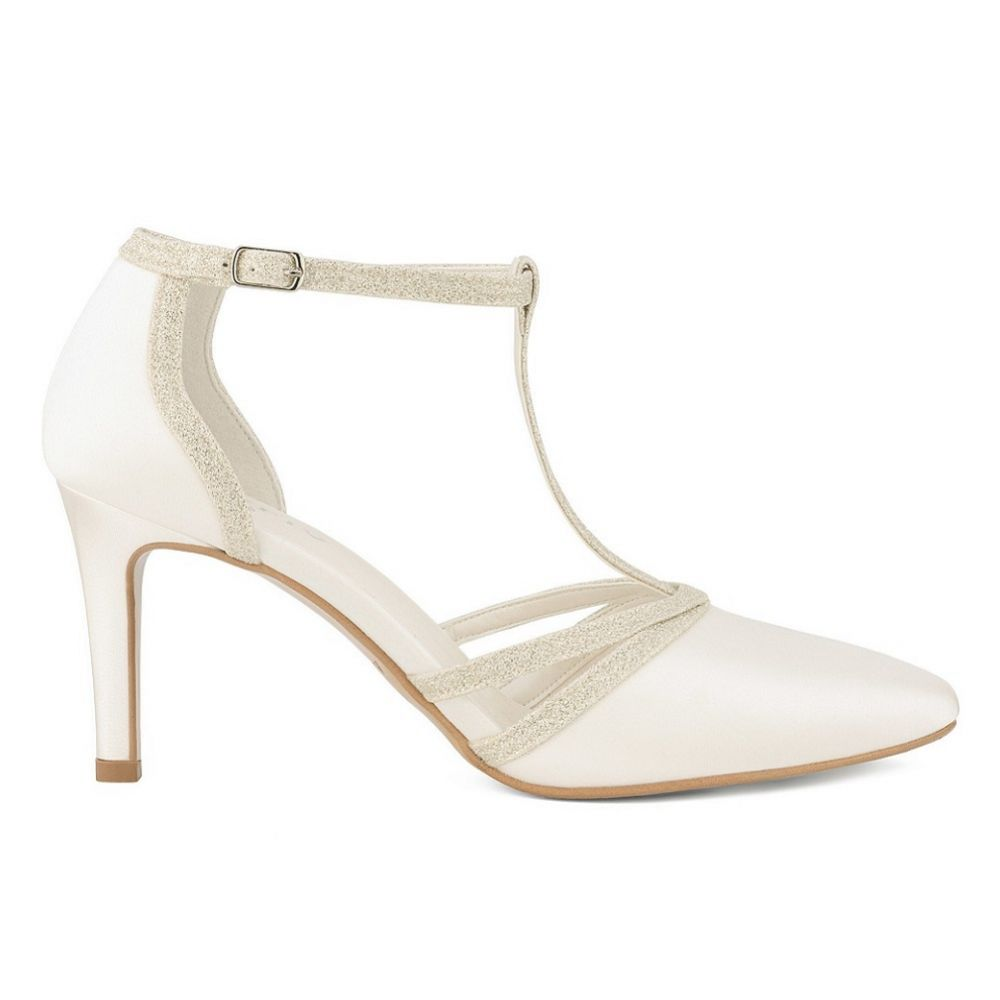 Avalia Wilma Ivory Satin and Silver Glitter T-Bar Shoes