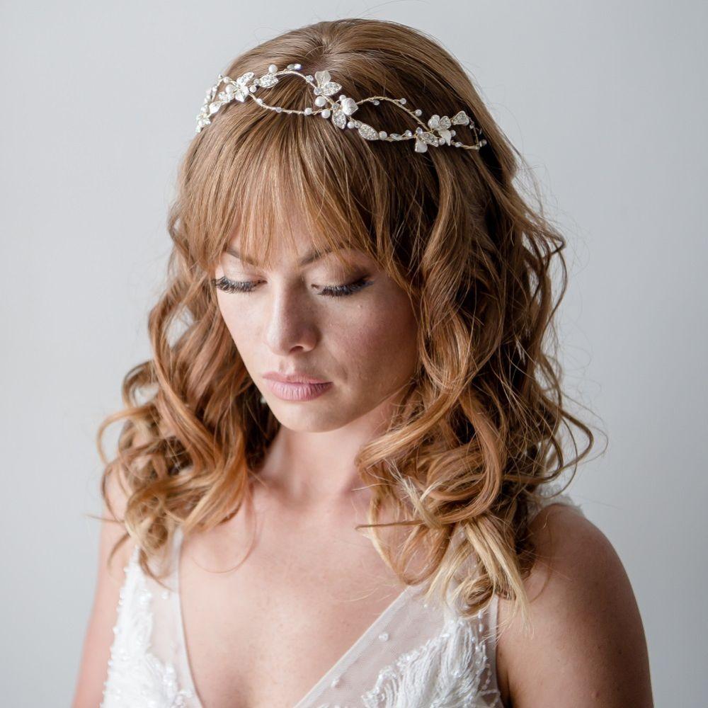 Azalea Entwined Golden Vine of Leaves Bridal Headpiece