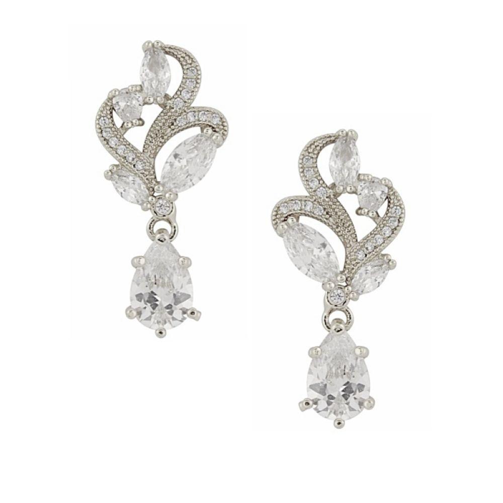 Bejewelled Crystal Vintage Wedding Earrings (Silver)