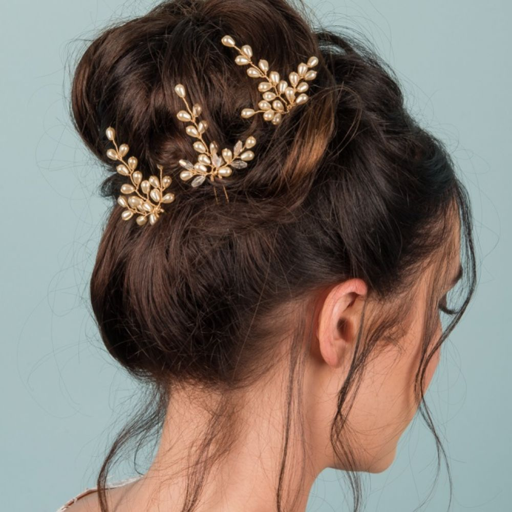 Belle Set of 3 Gold Pearl Hair Pins