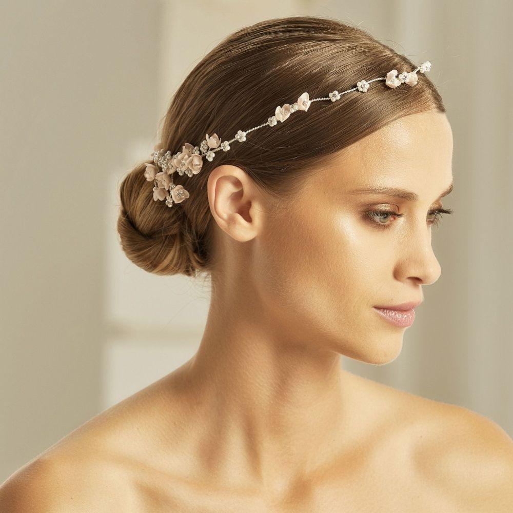 Bianco Blush Flowers, Pearl and Crystal Hair Vine 2608