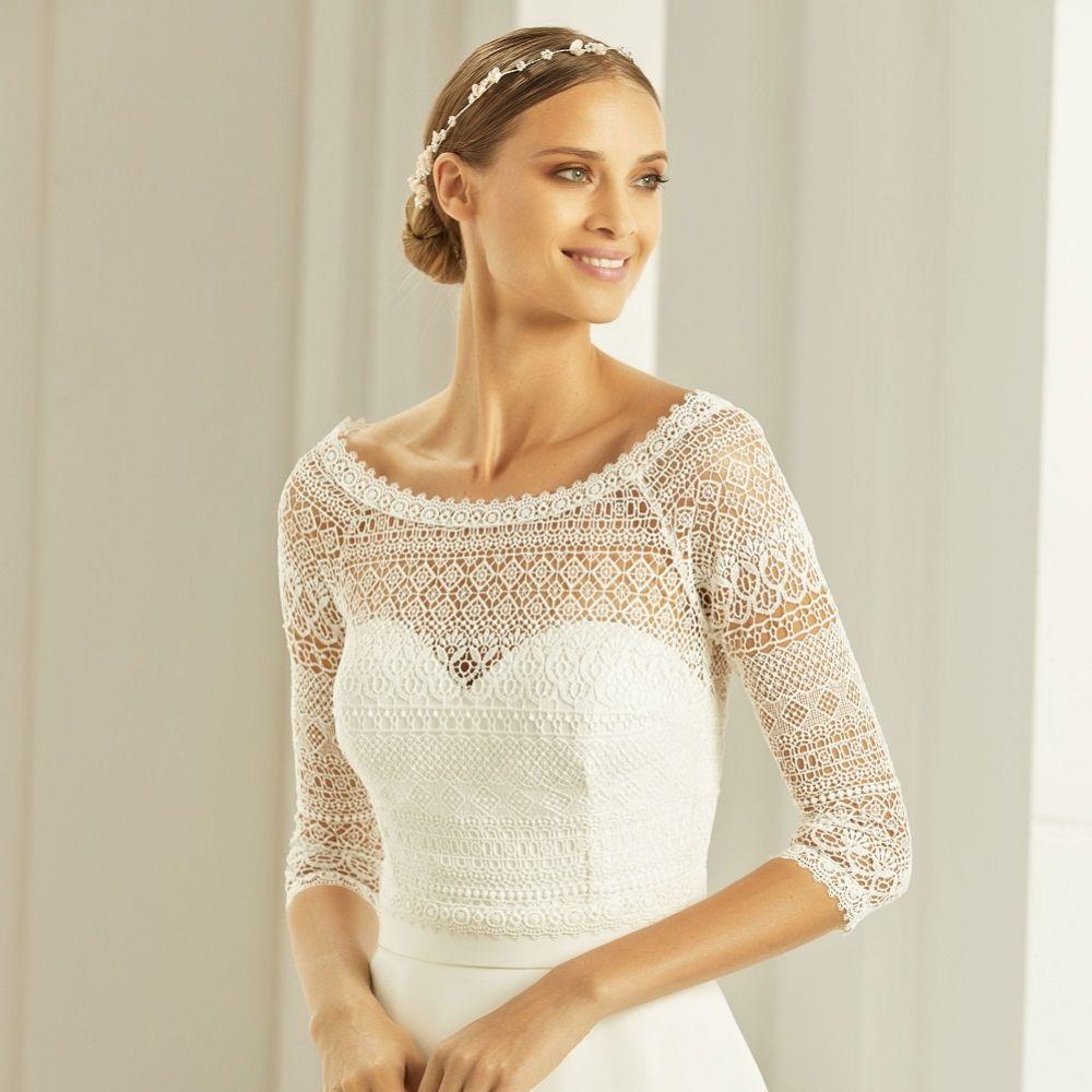 Bianco Ivory Boho Lace 3/4 Length Sleeve Wedding Bolero E280