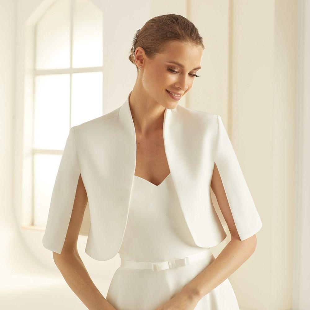 Bianco Ivory Crepe Wedding Cape Jacket E284