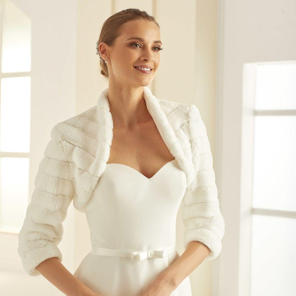 Bianco Ivory Faux Fur 3/4 Sleeve Wedding Bolero E304