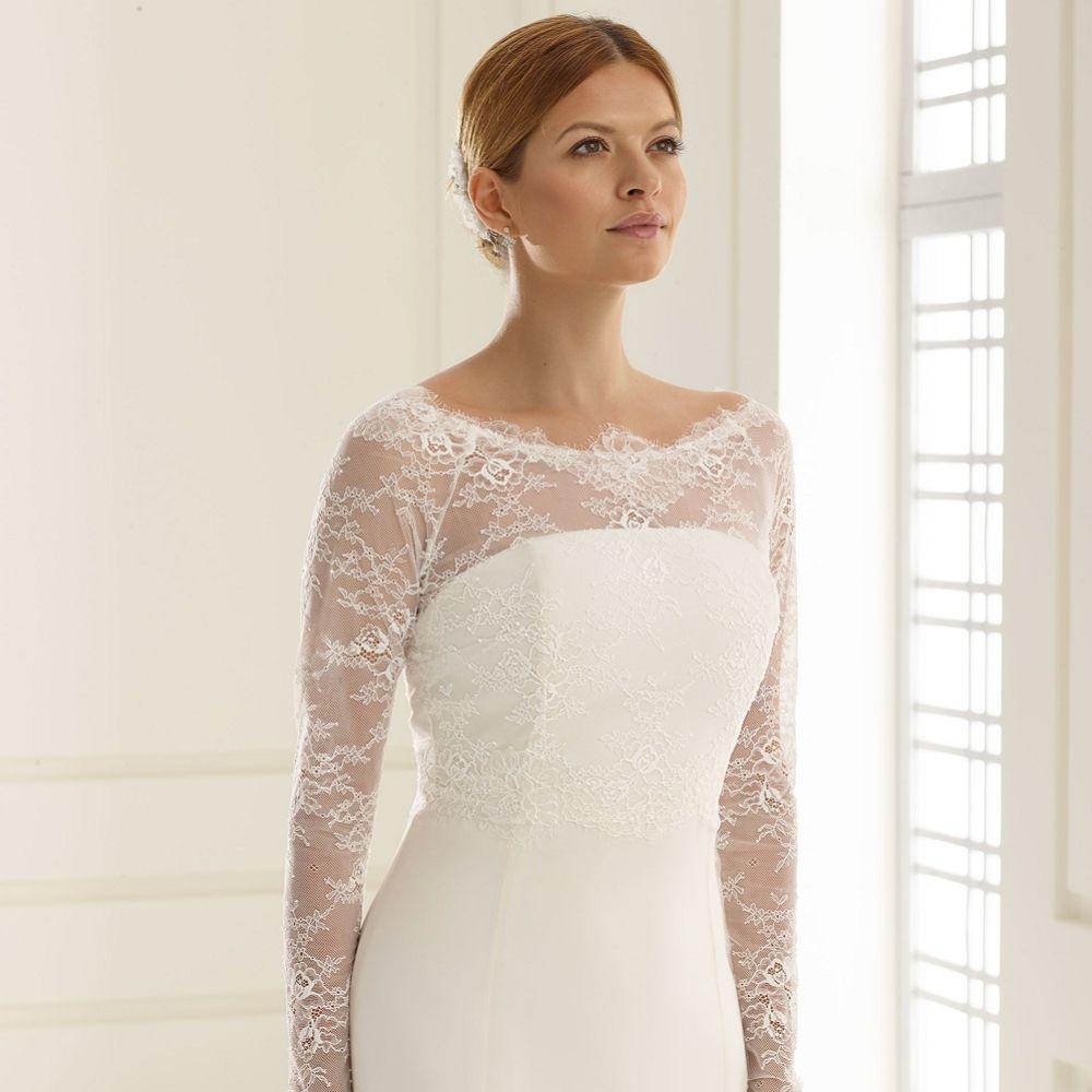 Bianco Ivory Stretch Lace Long Sleeve Wedding Bolero E226