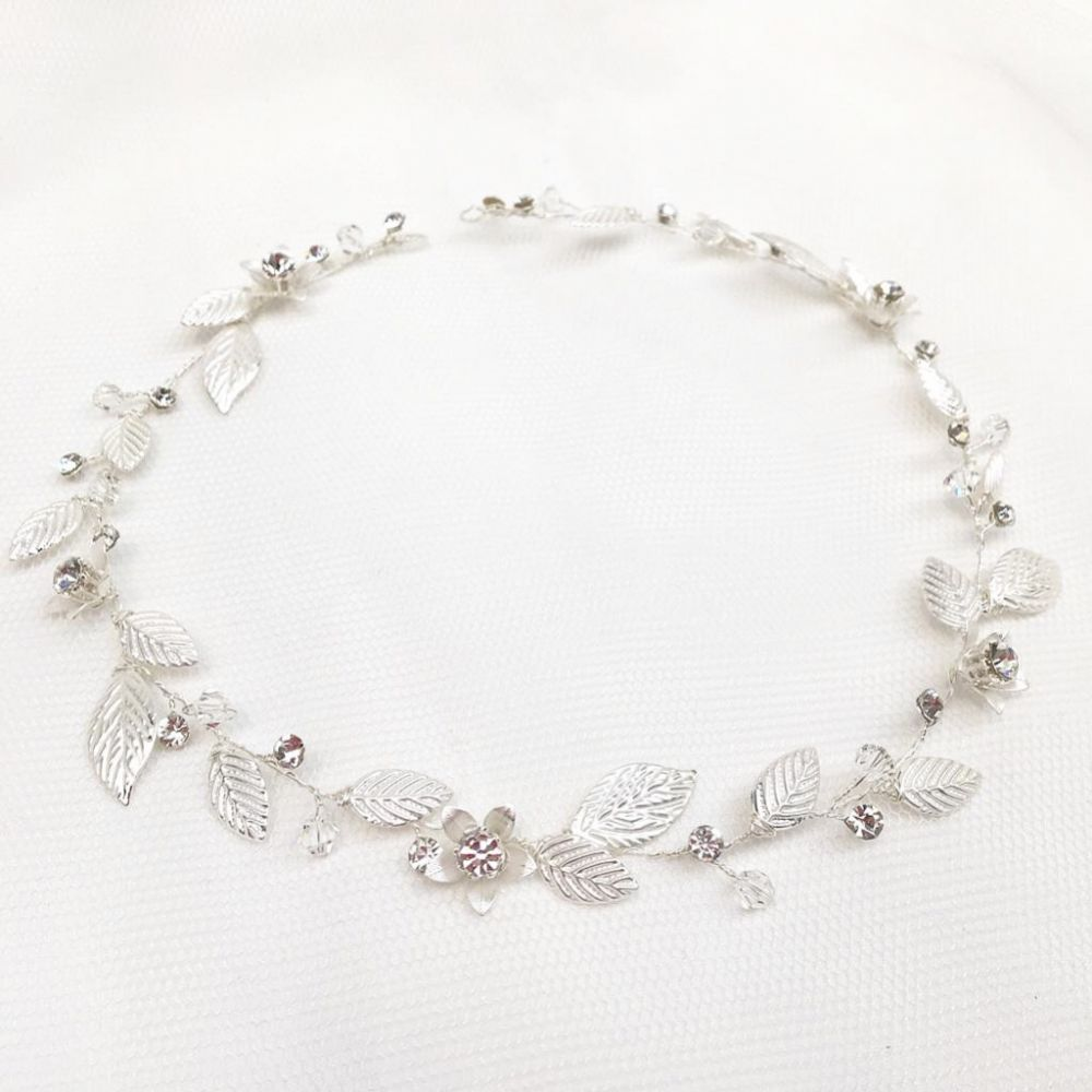 Bianco Silver Leaves and Crystal Flowers Bridal Halo 2706