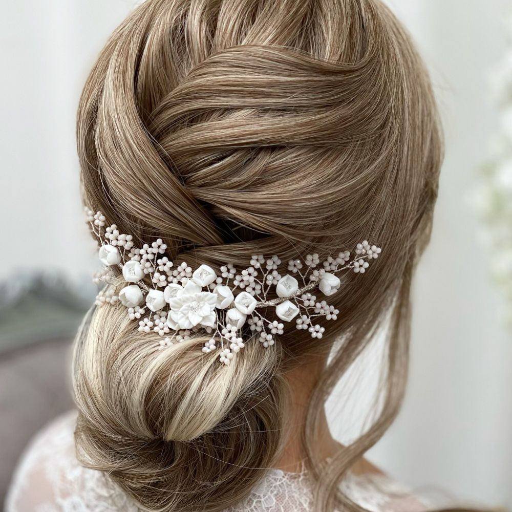 Blossom Porcelain Flowers and Blush Beads Wedding Hair Comb