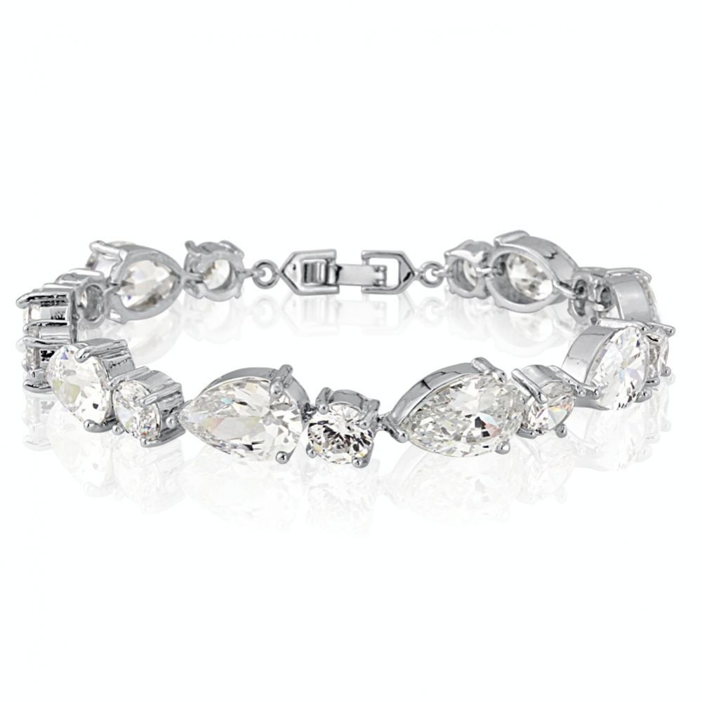 Carly Classic Cubic Zirconia Wedding Bracelet (Silver)