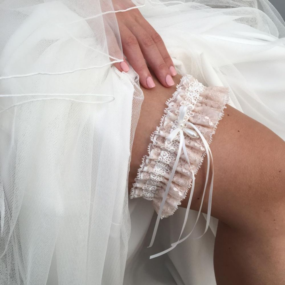Chantilly Blush Floral Lace Bridal Garter with Pearl Droplet