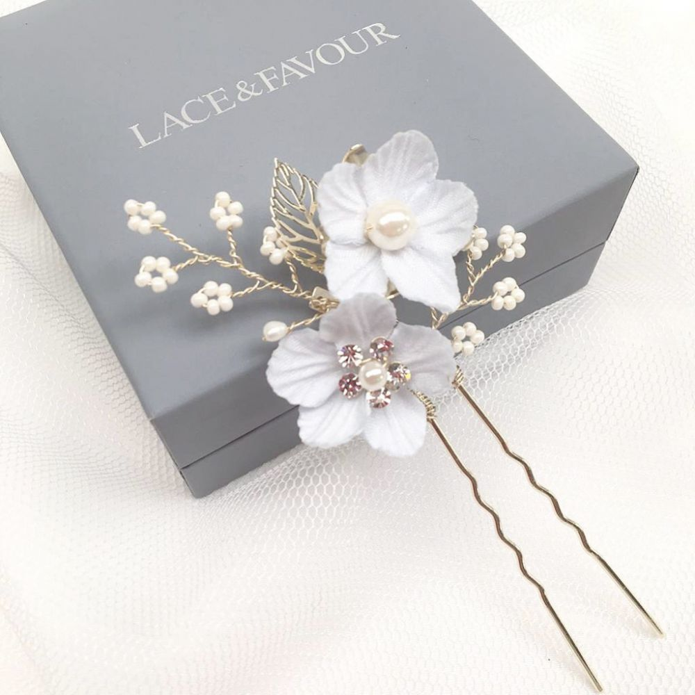 Delphinium Pale Blue Flowers and Sprigs Hair Pin