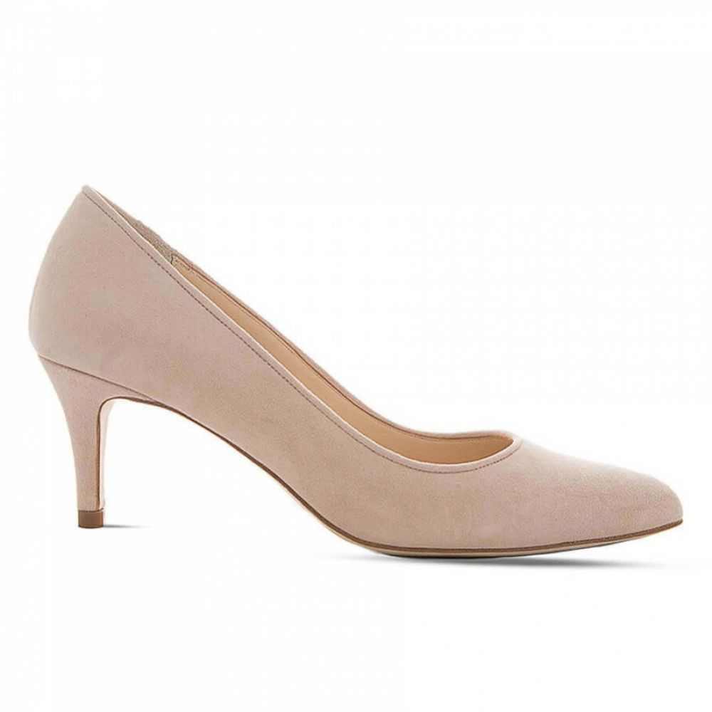 Diane Hassall Violette Blush Suede Mid Heel Pointed Court Shoes