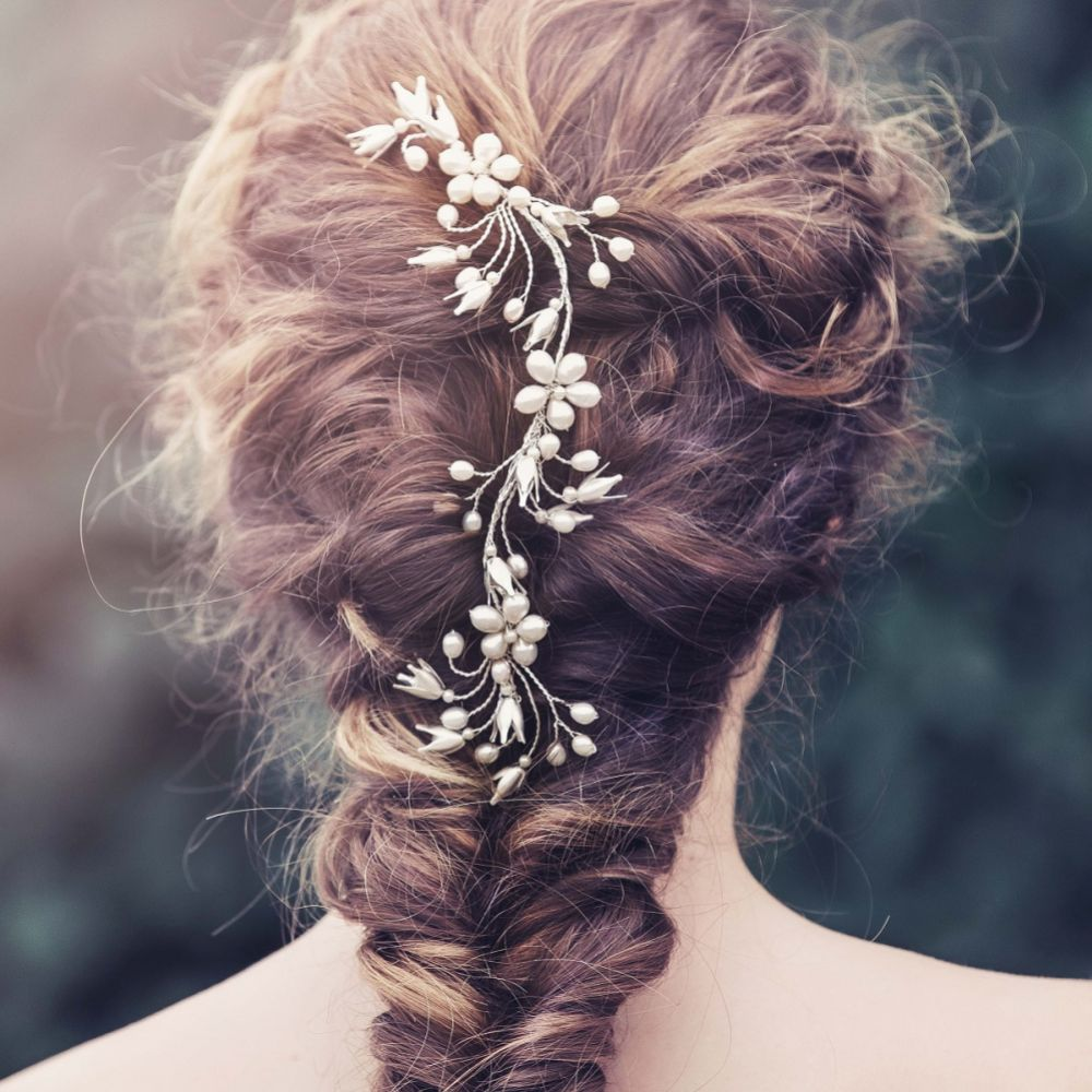 Dina Bell Flowers and Pearl Blossoms Wedding Hair Vine