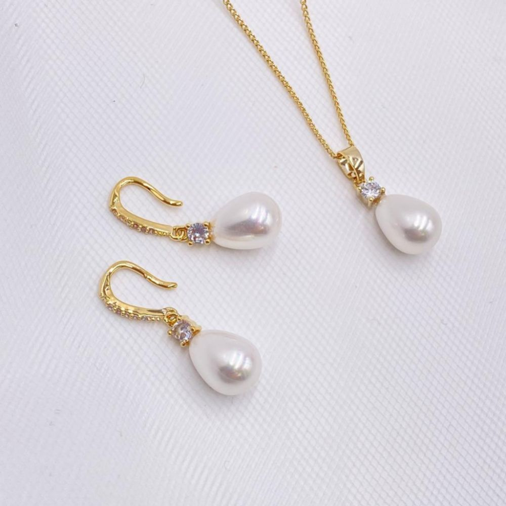 Dolci Gold Crystal and Teardrop Pearl Bridal Jewellery Set