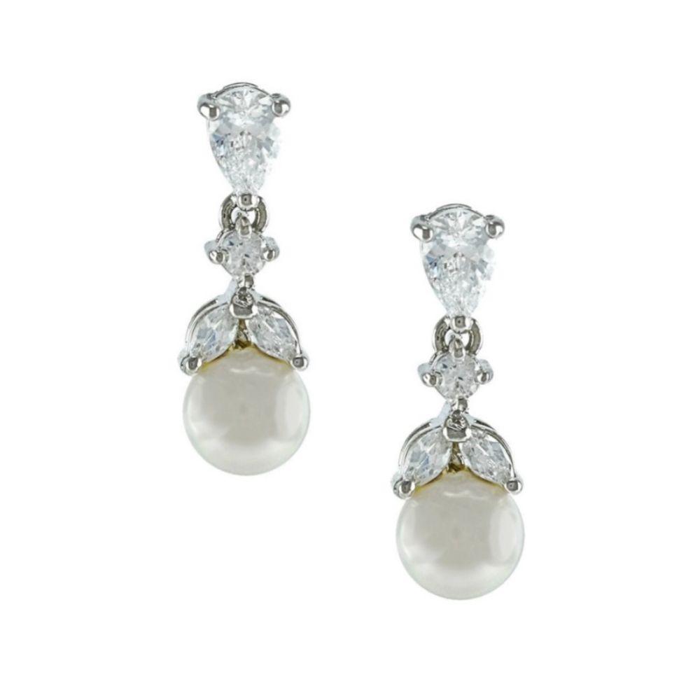 Elegance Crystal and Pearl Wedding Earrings