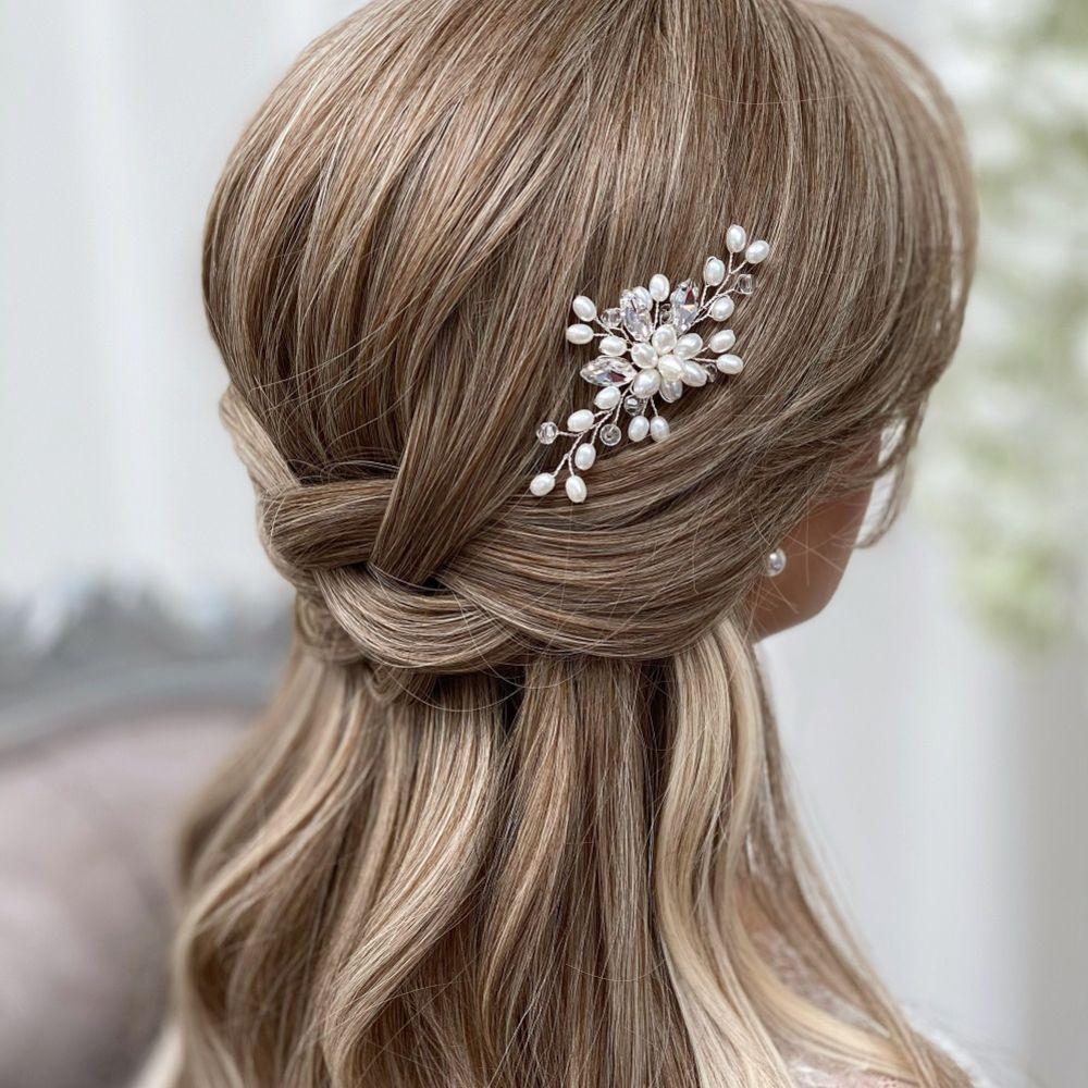 Ellie Pearl Cluster Wedding Hair Pin (Silver)