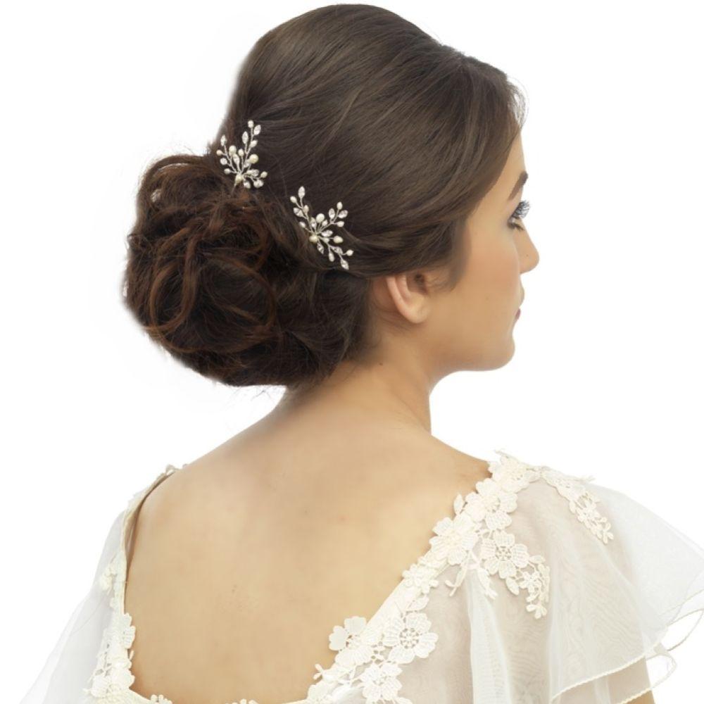 Elodie Crystal and Pearl Wedding Hair Pin (Silver)