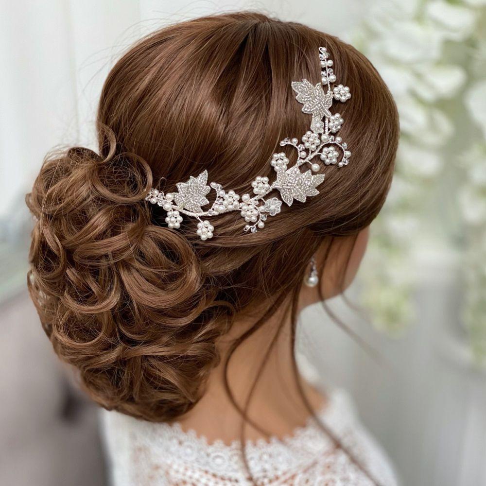 Elouise Beaded Leaves and Ivory Pearl Vintage Inspired Hair Vine