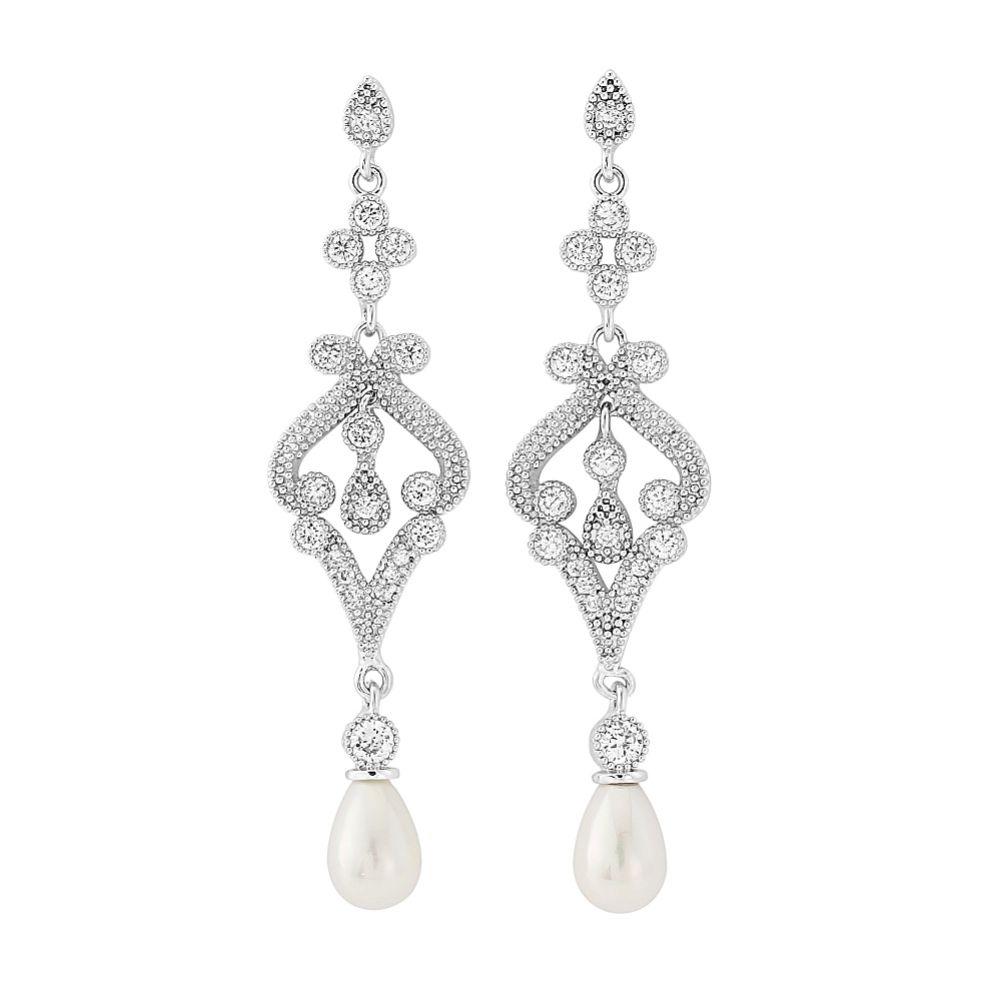 Enchanting Vintage Inspired Chandelier Wedding Earrings (Silver)