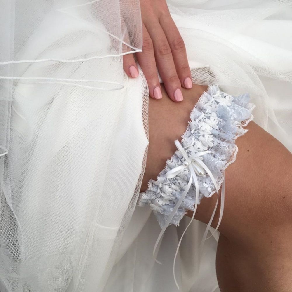 Eternity Powder Blue and Ivory Floral Lace Garter with Pearl Droplet