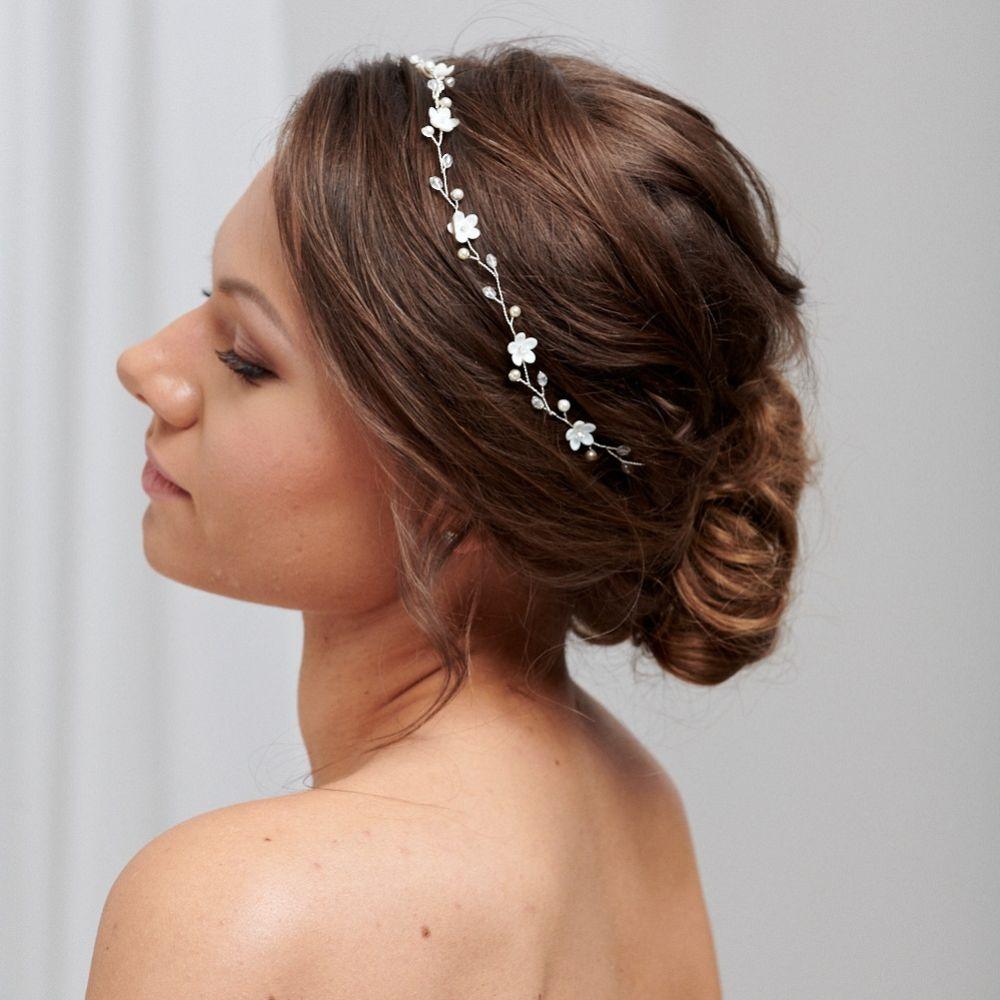 Fleur Delicate Pearl and Crystal Floral Hair Vine