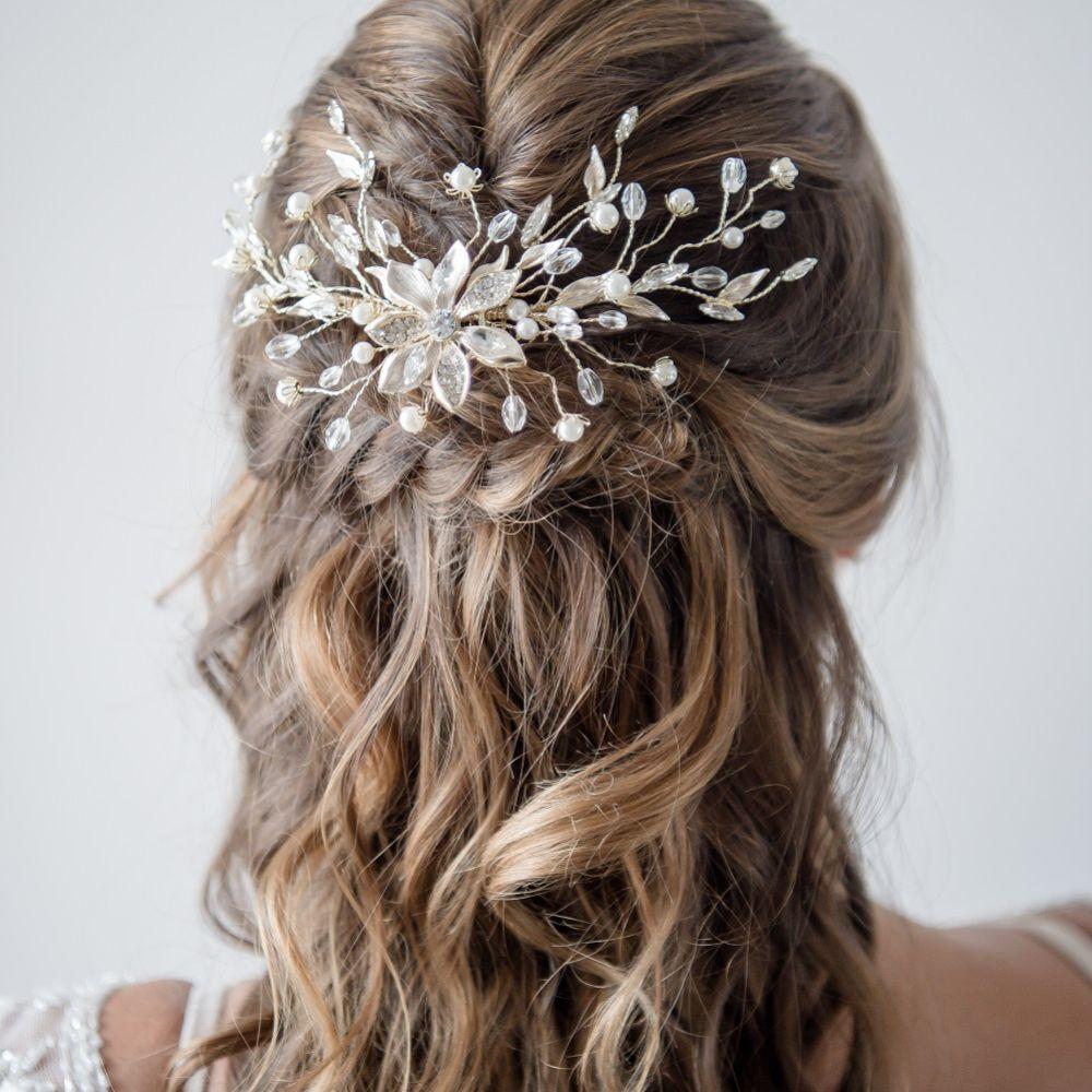 Flora Wild Golden Spray Wedding Hair Comb