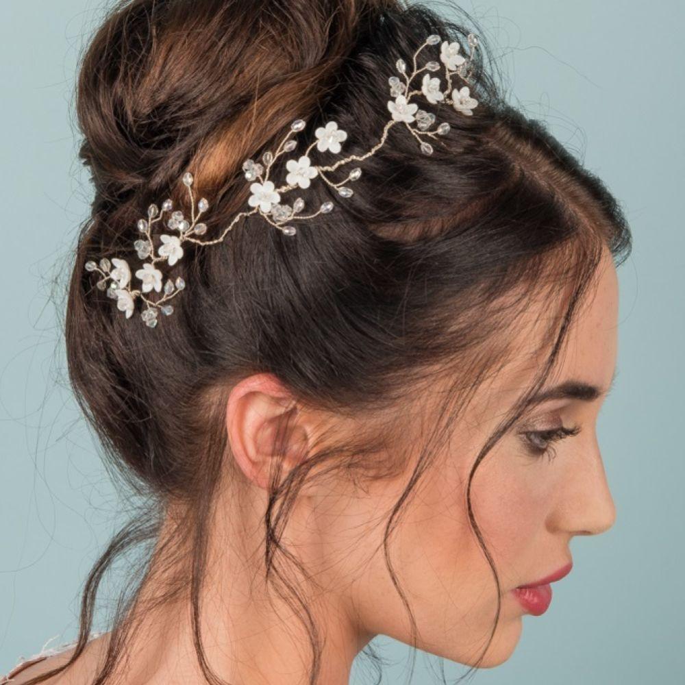 Florrie Delicate Floral Crystal Wedding Hair Vine