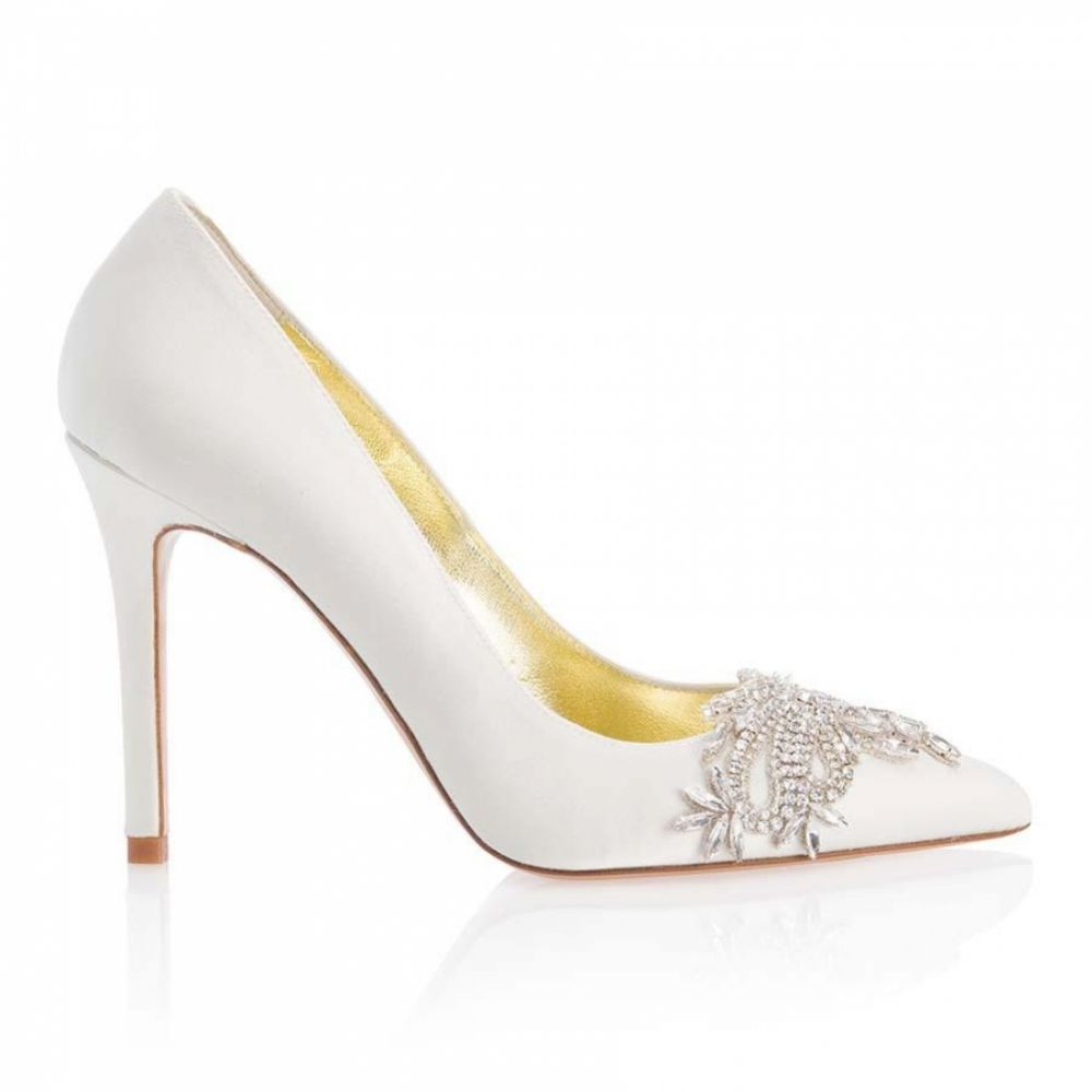 Freya Rose Celina Ivory Satin Crystal Embellished Pointed Toe Courts