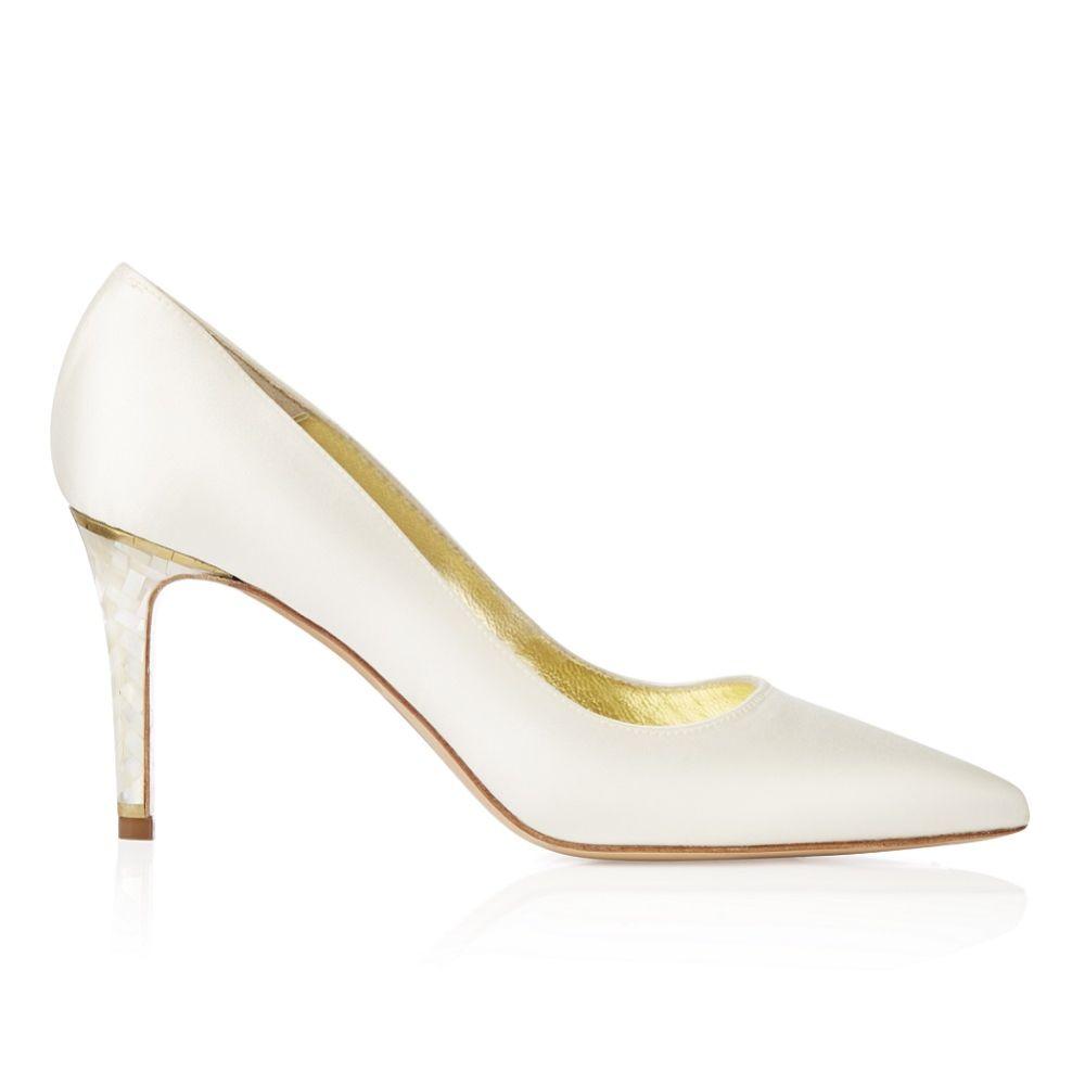 Freya Rose Chelsea Ivory Satin Pointed Toe Court Shoes