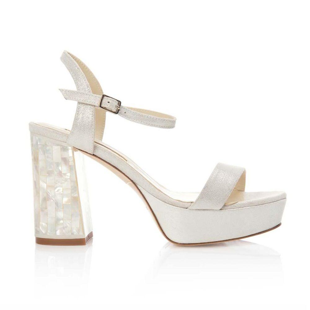 Freya Rose Gigi Ivory Suede Chunky Platform Sandals