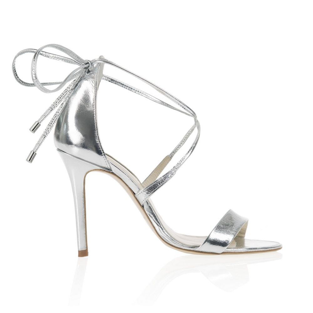 Freya Rose Helena Mirrored Silver Leather Tie-Up Sandal